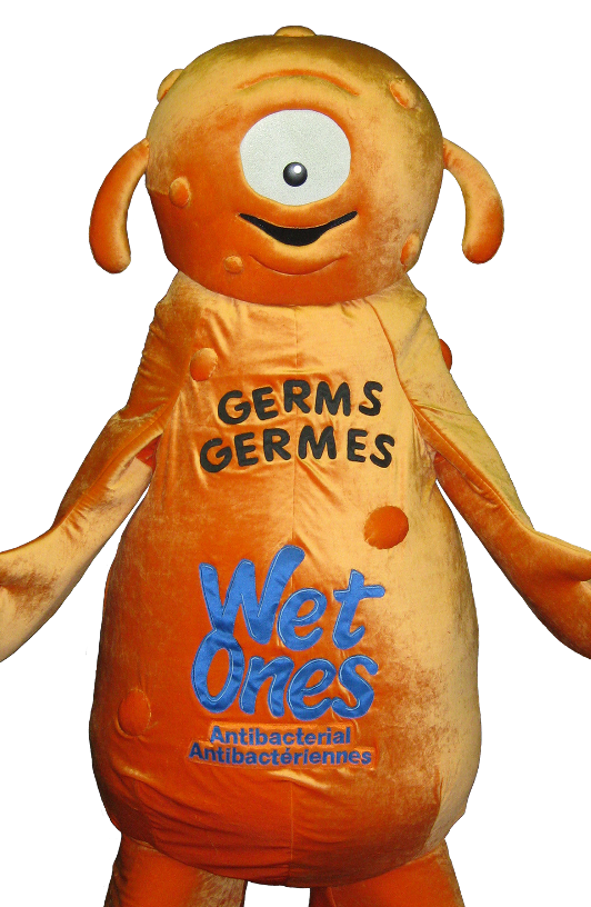 Appliqué techniques are used on the Wet Ones character 'Germs'.